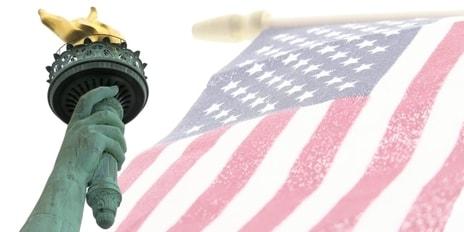 u.s. flag amd statue of liberty flame